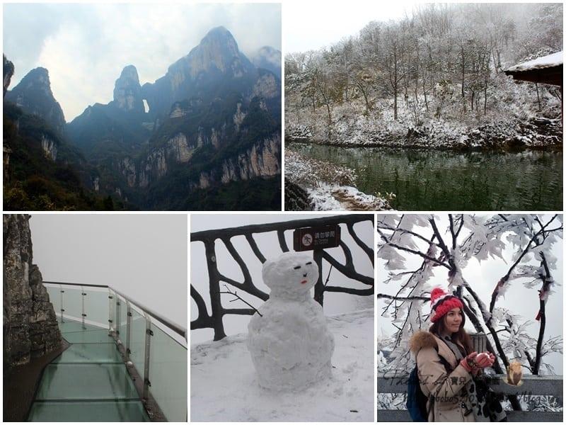 【2015中國湖南。冬雪張家界】天門山上的冰雪奇緣。驚險玻璃棧道+世界最長纜車,挑戰懼高極限!